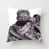 master chief Throw Pillows featuring Master Chief Pen Drawing by DeMoose_Art