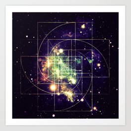 Galaxy Sacred Geometry: Golden mean Art Print