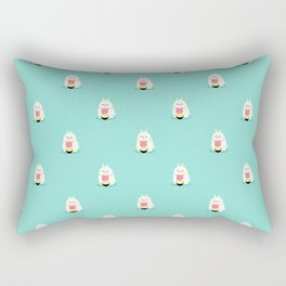 Fat bunny eating noodles pattern Rectangular Pillow