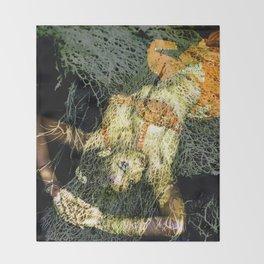 Oriental Beautie - orange Throw Blanket