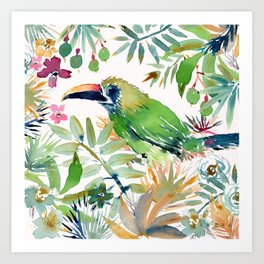BODRICK the Emerald Toucanet Art Print