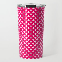 Small White Crosses on Hot Neon Pink Travel Mug