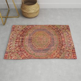 Bohemian Medallion III // 15th Century Old Distressed Red Green Purple Lavender Ornate Rug Pattern Rug