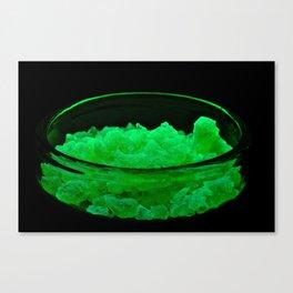 Uranyl-nitrate hexahydrate under UV light Canvas Print