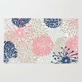 Floral Mixed Blooms, Blush Pink, Navy Blue, Gray, Beige Rug
