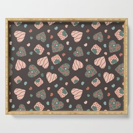 Seamless pattern with heart shapes, festive envelopes and tiny hearts for lovers. Serving Tray
