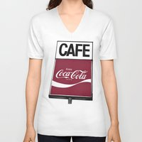 coca cola V-neck T-shirts featuring Coca-Cola Cafe by Vorona Photography