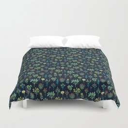 Navy Blue, Mint Green, Turquoise, Coral & Lime Floral Pattern Duvet Cover