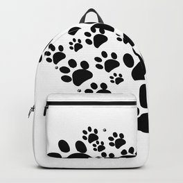 Dog paw print made of heart black Backpack