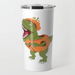 Halloween T-Rex Dinosaur Pumpkin Archaeologist Travel Mug