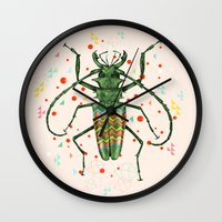 insect Wall Clocks featuring Insect V by dogooder