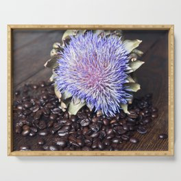 Coffee Beans with Blue Artichoke Flower Serving Tray