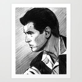 Portrait of Pierce Brosnan Art Print