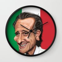 world cup Wall Clocks featuring  Cesare Prandelli World Cup by Michael Paci