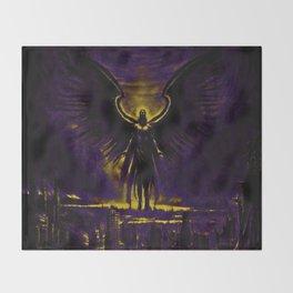 Angelic Guardian Yellow Purple Throw Blanket
