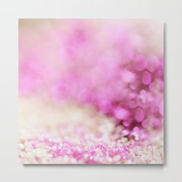 Pink and white shiny glitter effect print - Sparkle Valentine Backdrop Metal Print