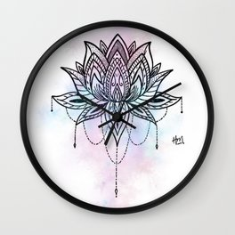 Watercolor Lotus Wall Clock