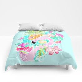 Tropical summer watercolor flamingo floral pineapple Comforters