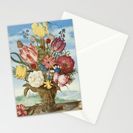 Bouquet of Flowers on a Ledge by Bosschaert Stationery Cards