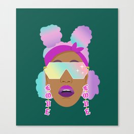 Top Puffs Girl #naturalhair #rainbowhair #shades #lipstick #blackunicorn #curlygirl Canvas Print