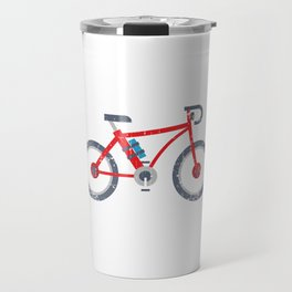 """Biking Shirt For Bikers With Unique Awesome Illustration Of A Bike """"Look Mum No Hands"""" T-shirt Travel Mug"""