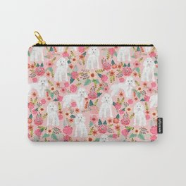 Toy Poodle pattern print by pet friendly pink florals dog with flower pattern cute toy poodles Carry-All Pouch