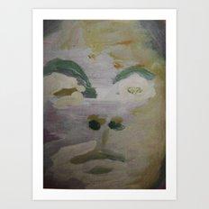 man's face in winter Art Print