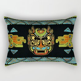 Tribal Ethnic  Mask  with Colored Glass and Gold decor Rectangular Pillow