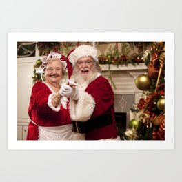 Santa and Ms Claus dancing around the Christmas Tree Art Print