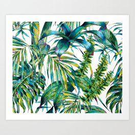 nature leaves exotic watercolor I Art Print