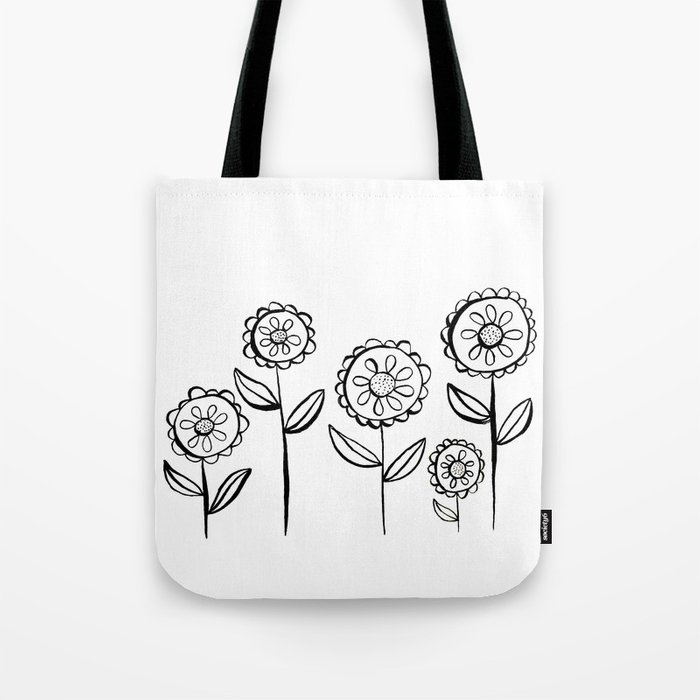 India Ink Black and White Garden of Flowers Print Tote Bag