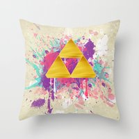triforce Throw Pillows featuring Splash Triforce by Brittany