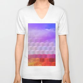 Ultra Surreal Countryside Violet Rainbow Unisex V-Neck
