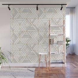 Nola Mod Mosaic - White gray gold Wall Mural