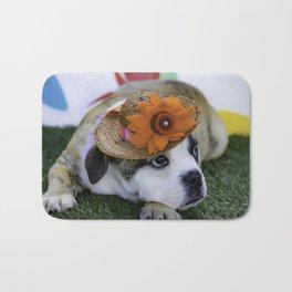 English Bulldog Puppy Wearing a Straw Hat with Bright Orange Flower for Spring Bath Mat