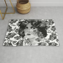 VINTAGE WOMAN AND ROSES BLACK GRAY AND WHITE  Rug