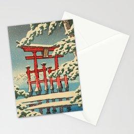 Miyajima shrine in Snow Stationery Cards