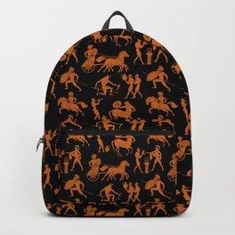 Greek Figures // Orange & Black Backpack