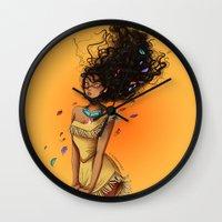 pocahontas Wall Clocks featuring Pocahontas by C. Cassandra