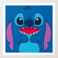 stitch Art Prints featuring stitch by customgift