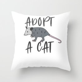 Possum Adopt A Cat Ugly Opossum Lovers Vintage Gift Throw Pillow