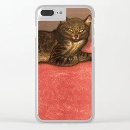 Big stripy cat painting Clear iPhone Case