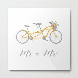 MR & Mrs Tandem Bike Yellow Metal Print