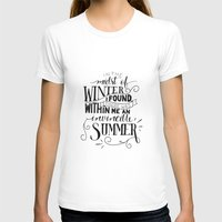 camus T-shirts featuring Albert Camus - In the Midst of Winter by Amber Serene