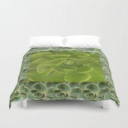 COLLAGE GRAY-GREEN  SUCCULENTS  MODERN DESIGN Duvet Cover