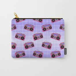 Boombox / Blue Grid Carry-All Pouch