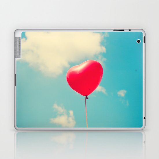 Love is in the air (Red Heart Balloon on a Retro Blue Sky) Laptop & iPad Skin