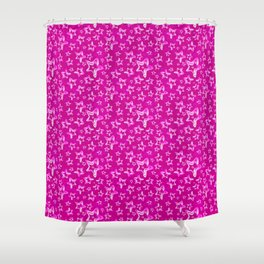 Pattern of interwoven iridescent red stars and sparkling constellations on a delicate pink backgroun Shower Curtain