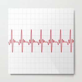 cardiogram Vary Heart Rate Perform Line Red Plaid Wave Waves Chevron Metal Print
