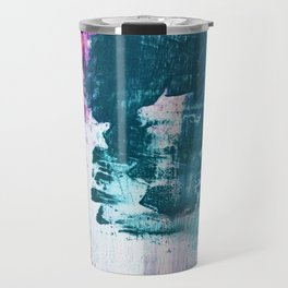 Complexity: a pretty abstract mixed-media piece in teal and purple by Alyssa Hamilton Art Travel Mug